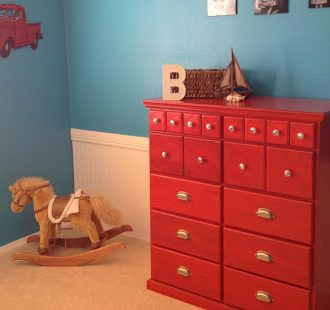 Boy's Room Makeover with Red Glazed Dresser!