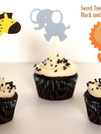 Sweet Tooth Fairy Black and White Cupcakes with Zoo Animal Toppers