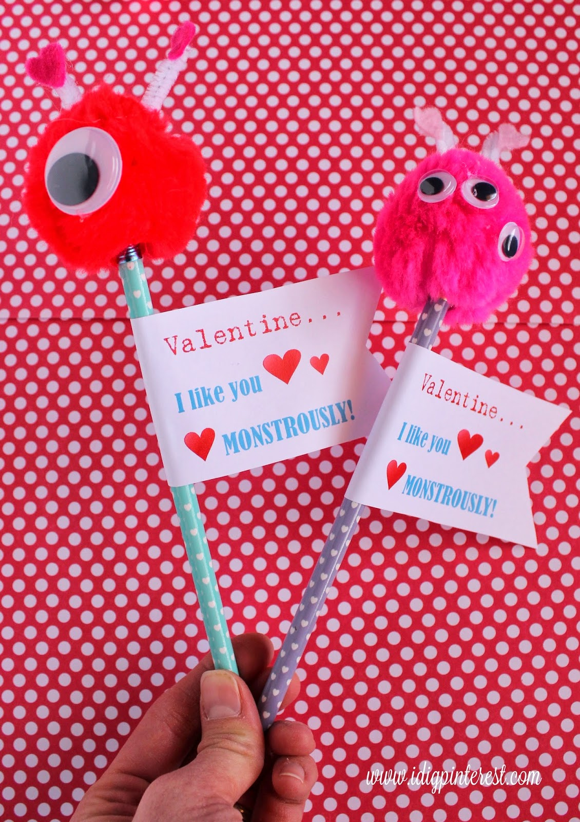 Valentine Monster Pencils With Free Printable I Dig