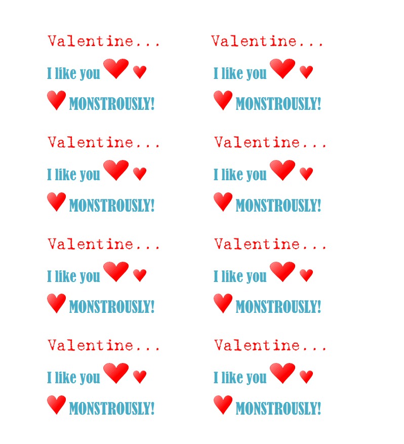 picture about You Rock Valentine Printable named Valentine Monster Pencils with Totally free Printable! - I Dig Pinterest