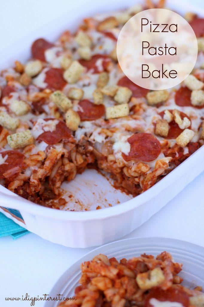 Family-Pleasing Pizza Pasta Bake on I Dig Pinterest
