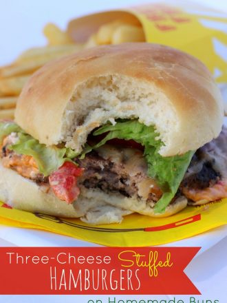 Three-Cheese Stuffed Hamburgers on Homemade Buns