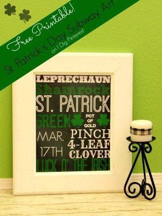St. Patrick's Day Subway Art Free Printable!