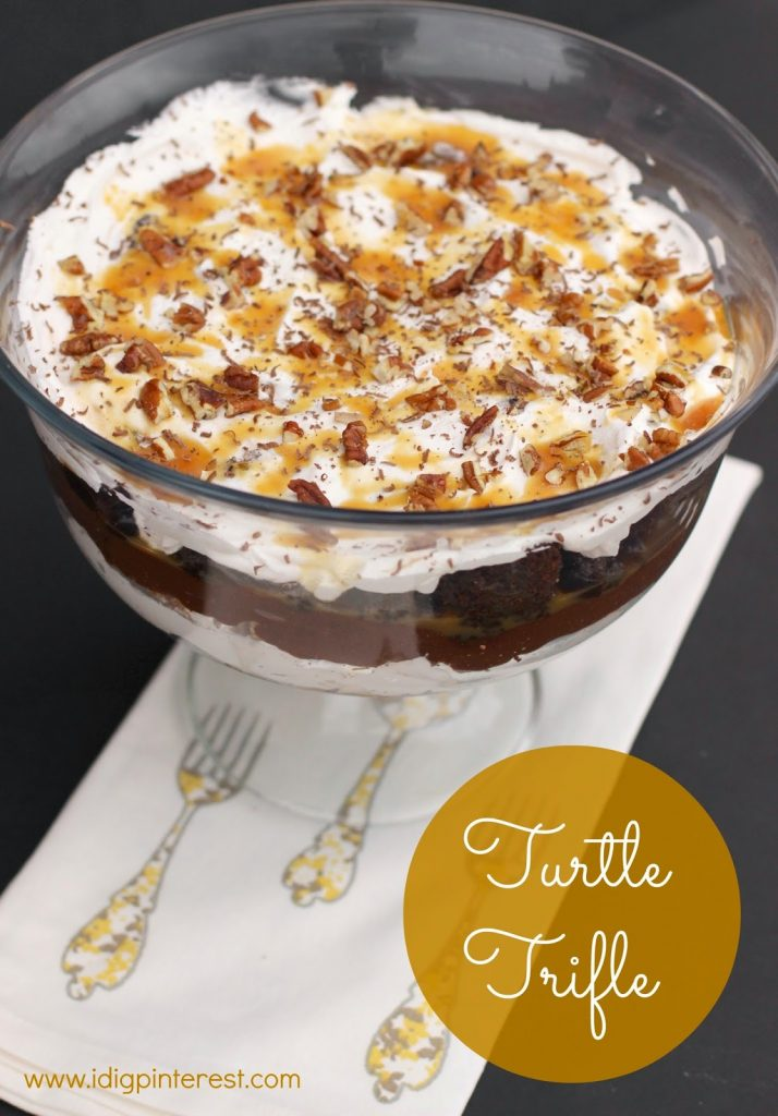 Decadent Turtle Brownie Trifle - I Dig Pinterest