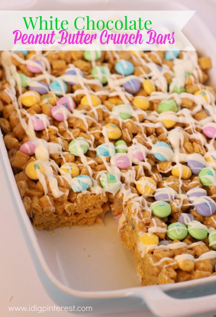 Easter White Chocolate Peanut Butter Crunch Bars - I Dig