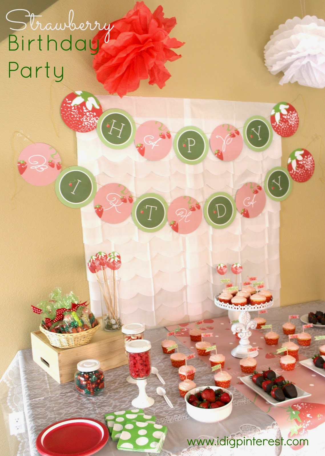 Strawberry Birthday Party - I Dig Pinterest