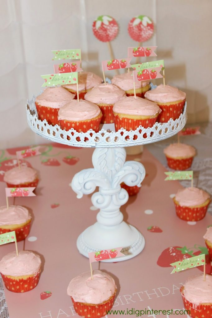 Homemade Strawberry Frosted Yellow Cake Cupcake