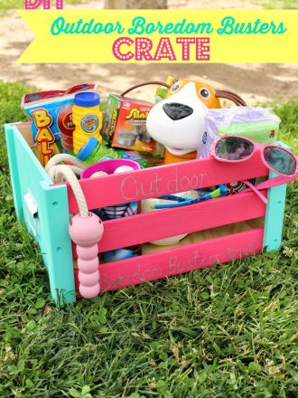 "DIY ""Outdoor Boredom Busters"" Crate with Sharpie Paint Markers"