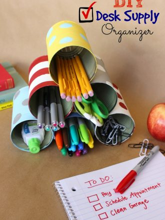DIY Tin Can Desk Supply Organizer