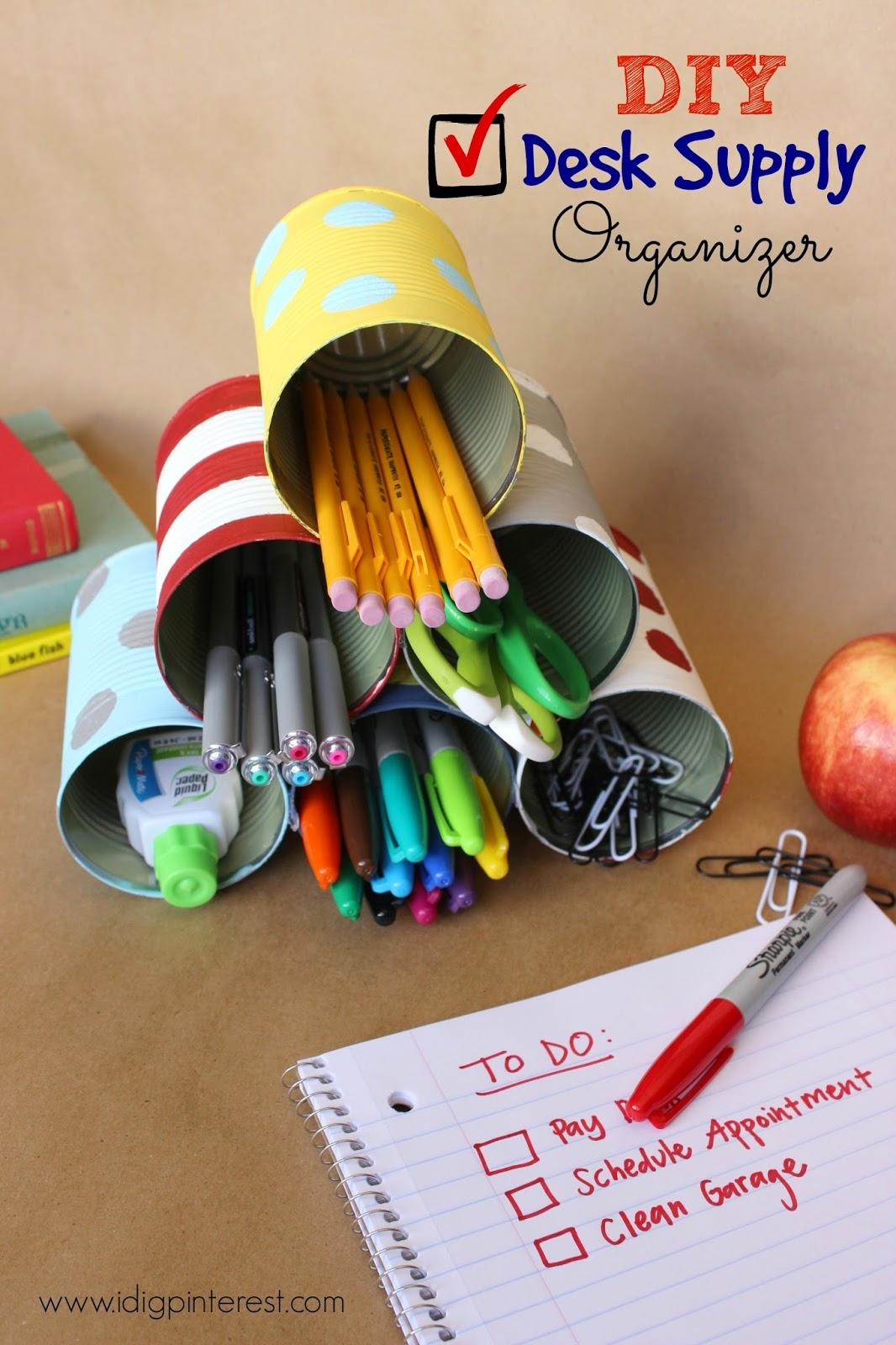 Diy tin can desk supply organizer i dig pinterest for Diy desk stuff