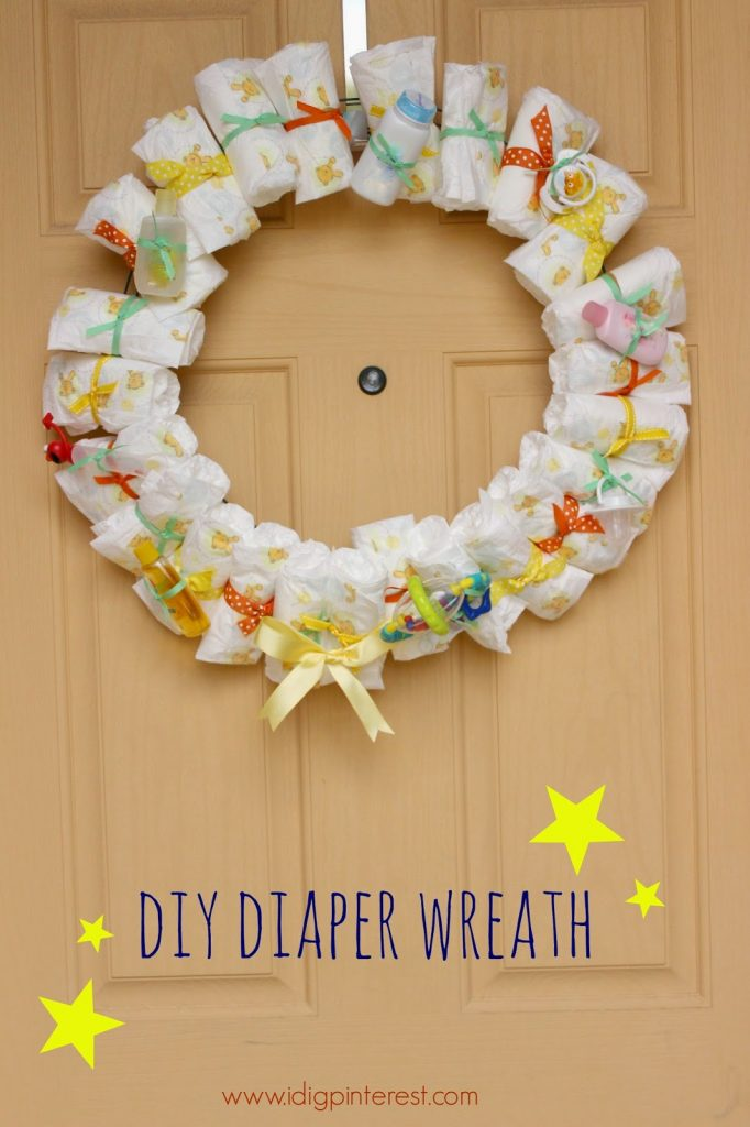 Diy Baby Diaper Wreath Shower Giftdecoration I Dig Pinterest