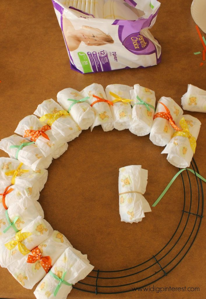 Diy Baby Diaper Wreath Shower Gift Decoration I Dig