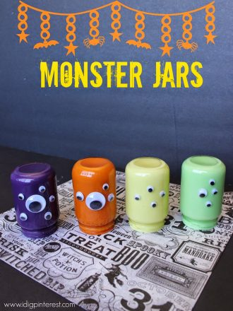 Googly Eye Monster Jars Halloween Craft