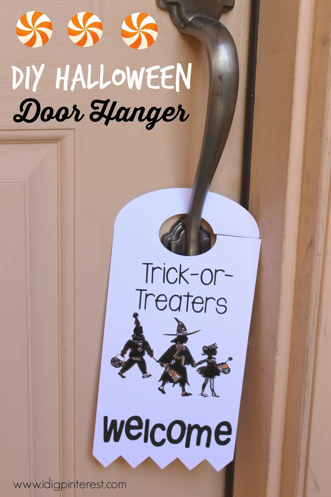Decorating Ideas > TrickorTreaters Welcome Halloween Door Hanger With  ~ 040025_Halloween Door Hangers Free Printable
