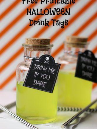 Drink Me if You Dare Free Printable Halloween Tags