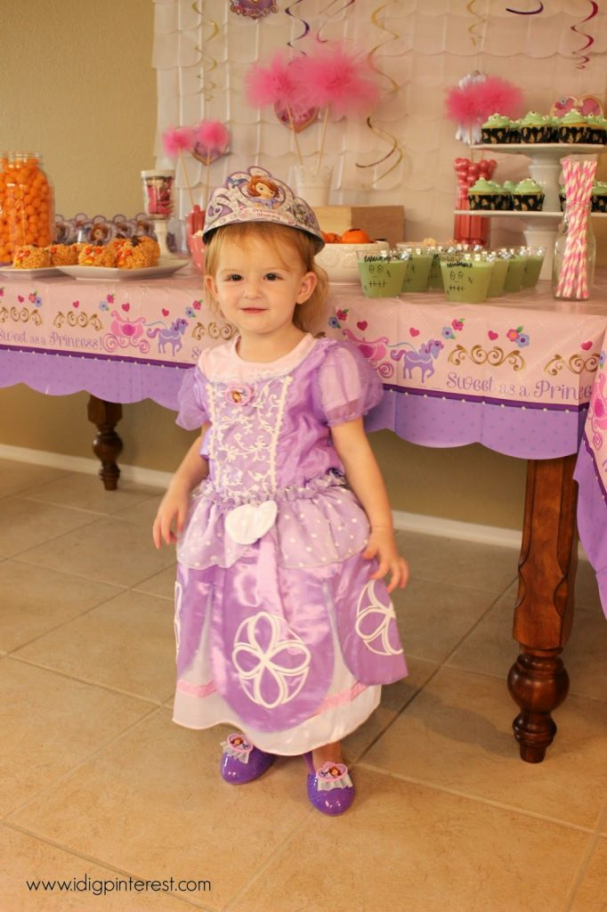My sweet toddler was thrilled to be Sofia the First for the day. She glided around in her pretty purple slippers.  sc 1 st  I Dig Pinterest & Disney Jr. Sofia the First Halloween Party - I Dig Pinterest