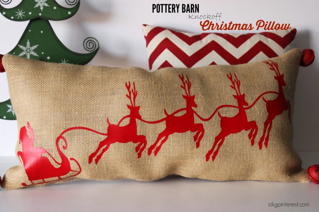 Pottery Barn Knockoff Santa And Sleigh Christmas Pillow
