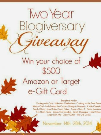 Two Year Blogiversary $500 Giveaway for Cooking with Curls and Little Miss Celebration!