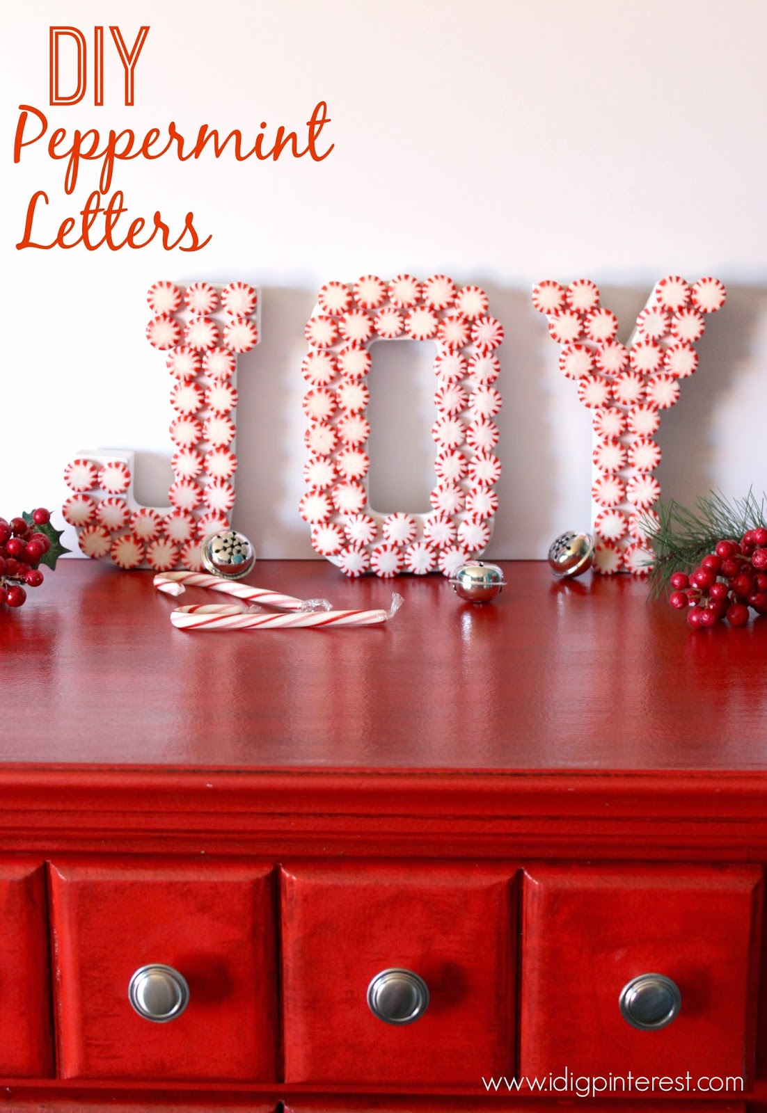 diy peppermint joy letters christmas craft - Peppermint Christmas Decorations