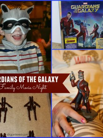 Guardians of the Galaxy Family Movie Night with Groot Pretzel Dessert and Rocket Raccoon Felt Masks