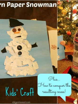 Torn Paper Snowman Kids' Craft and How to Easily Clean the Mess Afterwards!