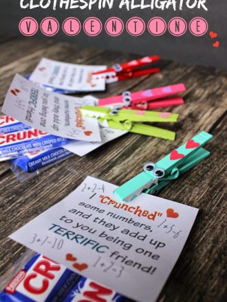 """Clothespin Alligator """"Crunch"""" Valentine with Free Printable"""