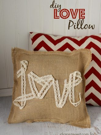 DIY Burlap and Lace LOVE Pillow
