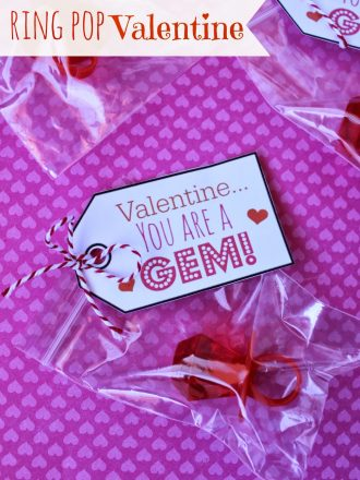 """You are a Gem"" Ring Pop Valentine"