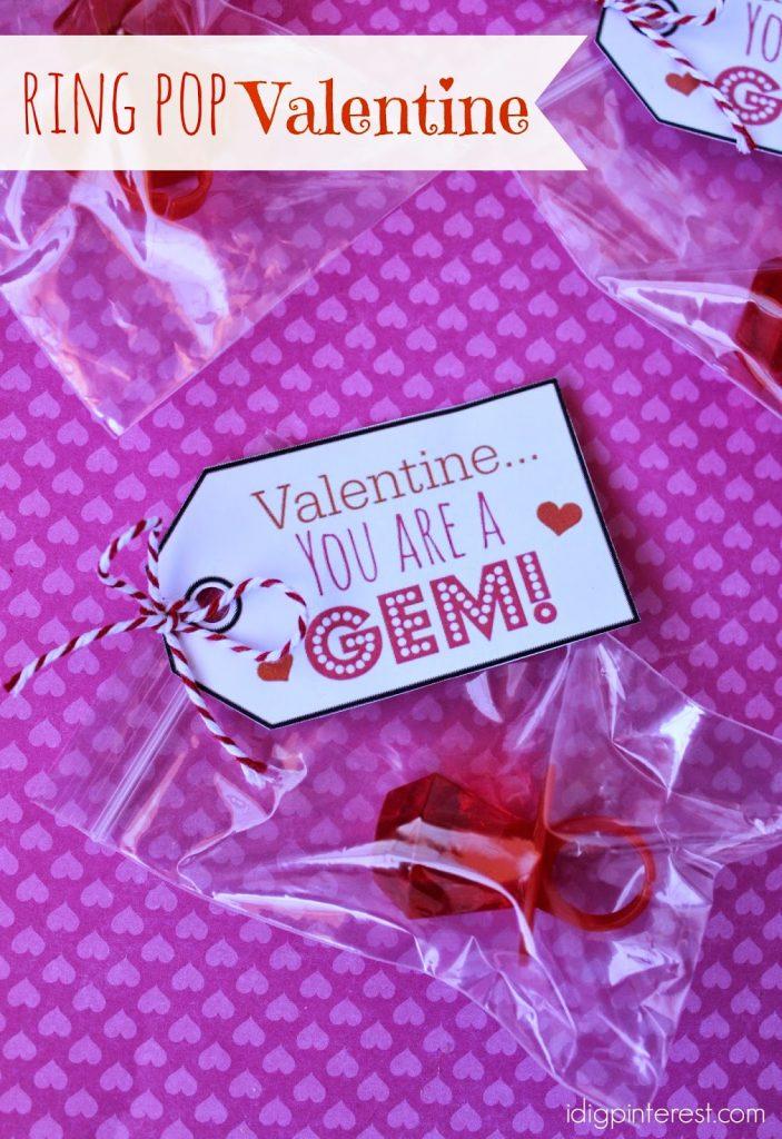 You are a Gem Ring Pop Valentine I Dig Pinterest