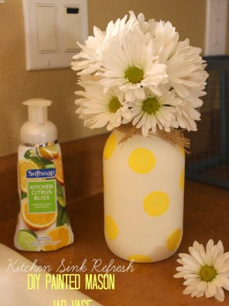 Dress up the Sink with DIY Painted Mason Jar Vase