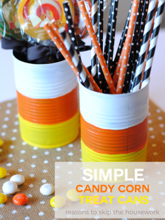 Simple Candy Corn Treat Cans