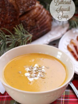 Butternut Squash Soup with Baked Ham Dinner