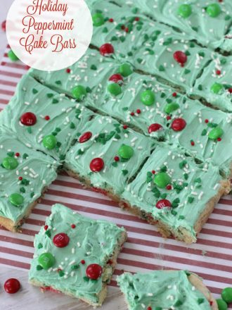 Holiday Peppermint Cake Bars