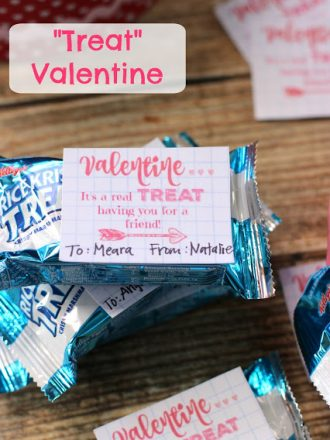 """Treat"" Valentine Idea with Free Printable Tags"
