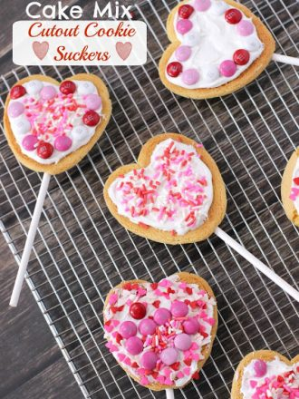 Valentines Cake Mix Cutout Cookie Suckers