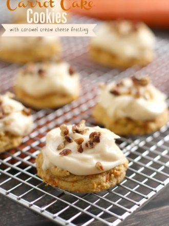Carrot Cake Cookies with Caramel Cream Cheese Frosting