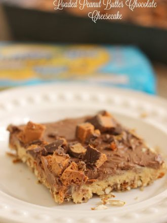 No-Bake Loaded Peanut Butter Chocolate Cheesecake