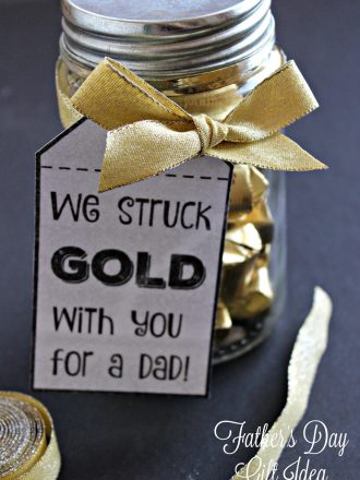 """""""We Struck Gold"""" Father's Day Gift Idea with Free Printable Tags"""
