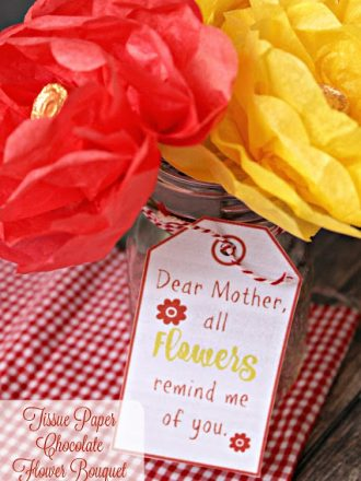 Tissue Paper Chocolate Flower Bouquet: An Easy DIY Mother's Day Gift