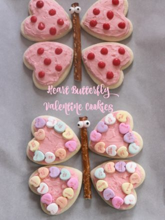 Heart Butterfly Valentine Cookies