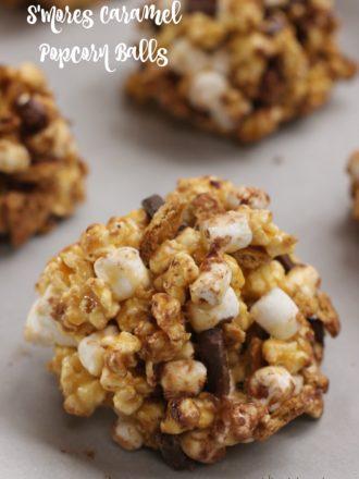 S'Mores Caramel Popcorn Balls
