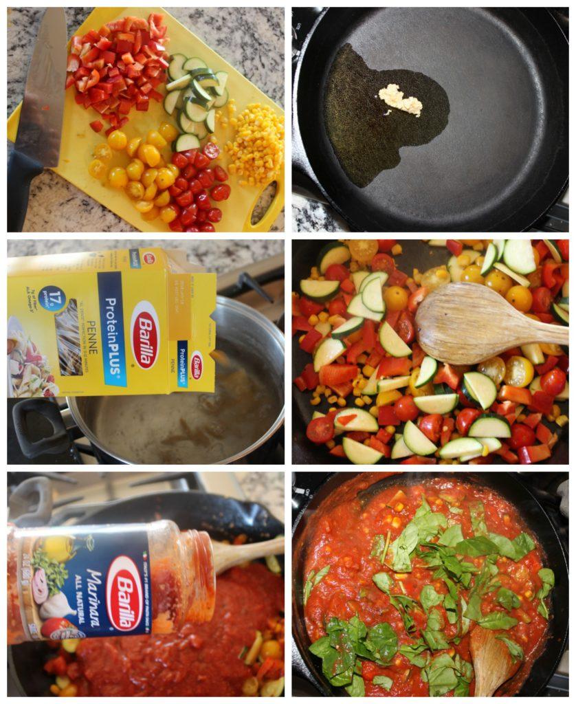 garden veggie pasta collage