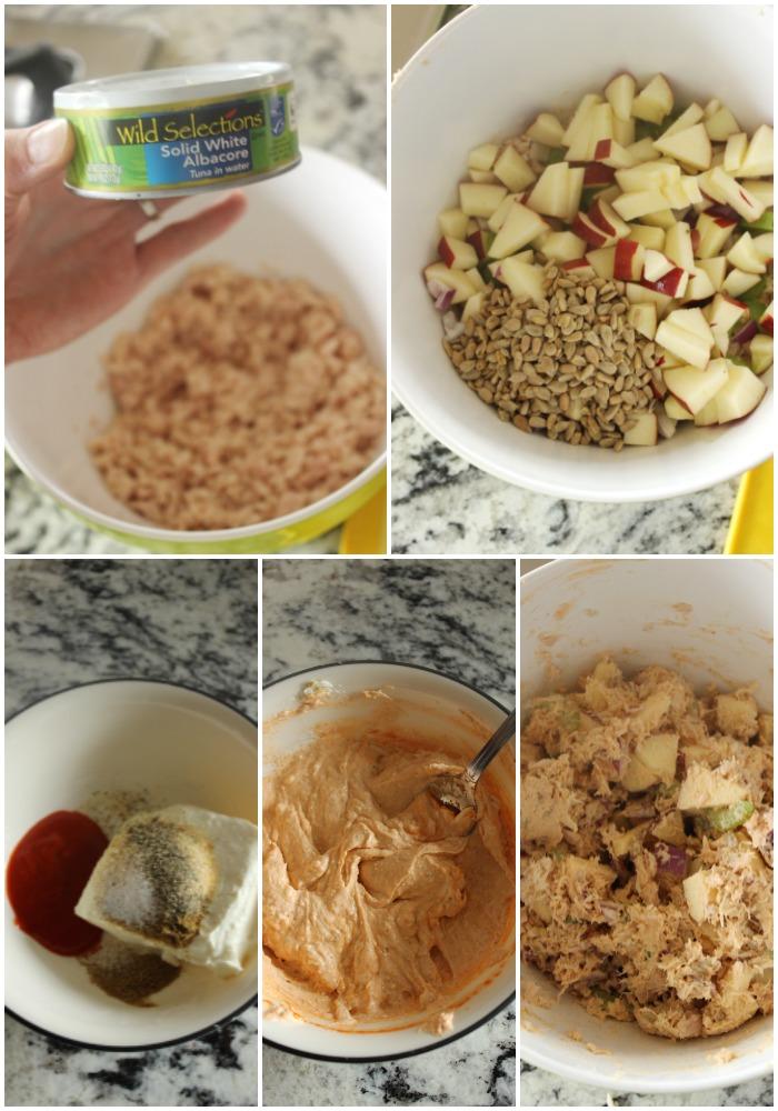 sriracha tuna lettuce wraps collage