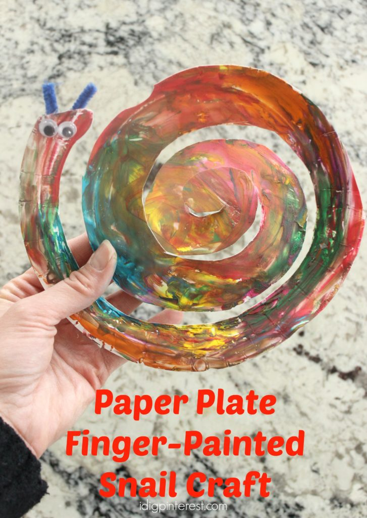 paper plate finger-painted snail craft1