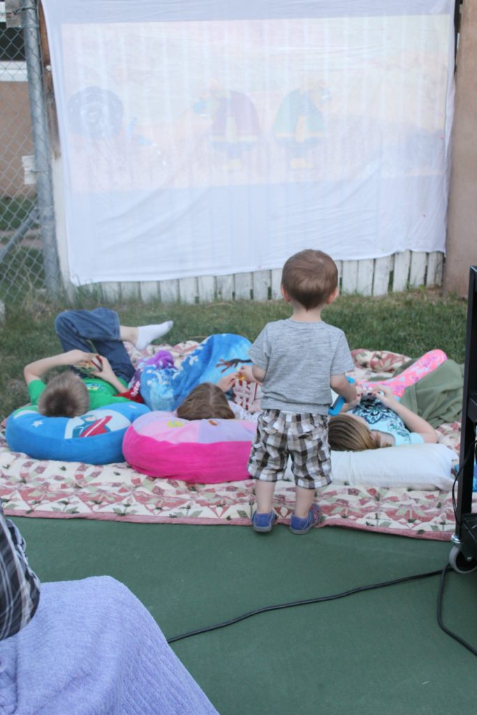 outdoor movie party watching