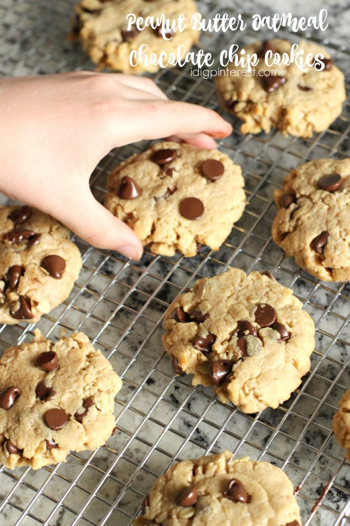 peanut butter oatmeal chocolate chip cookies1