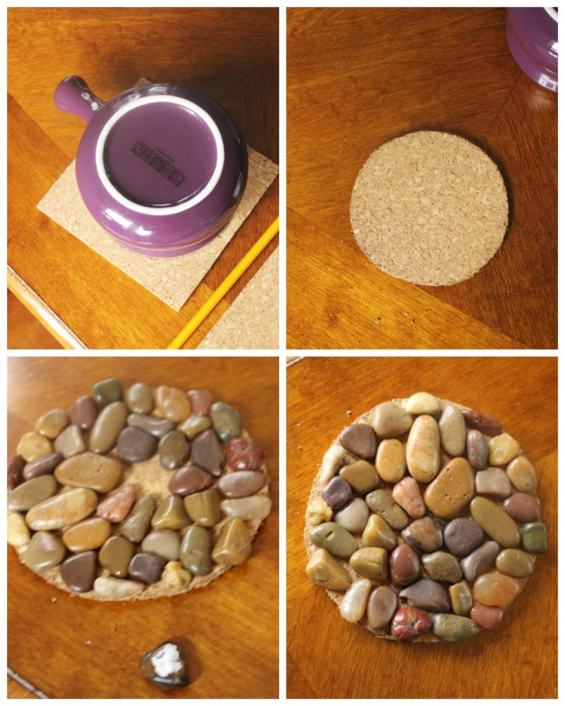 river stone candle coaster collage