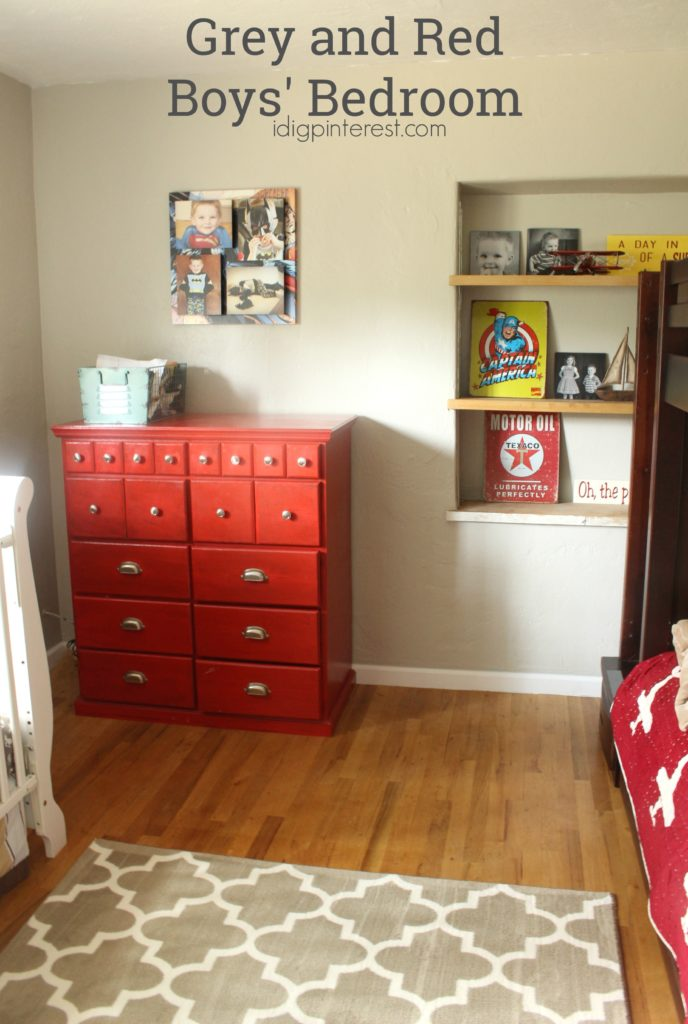 Grey And Red Boys Bedroom