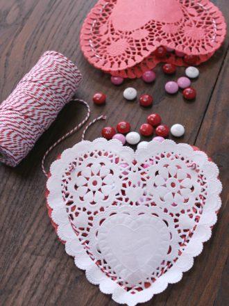 Paper Doily Valentine's Heart Pouches